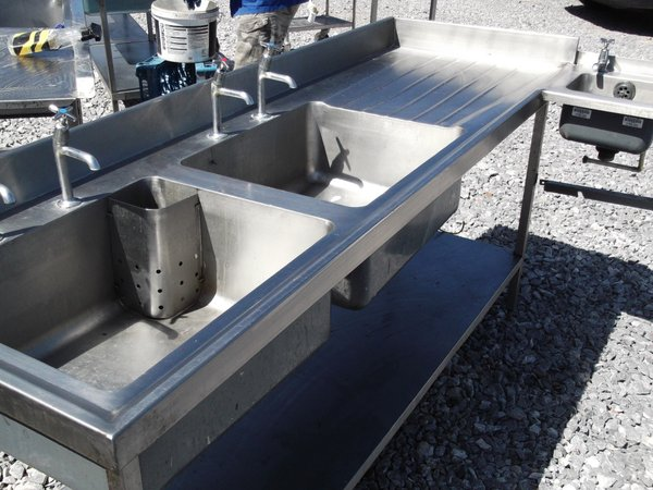 Stainless Steel Double Sink With Hand Sink