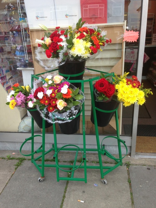 Flowers on metal stand