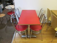 Red vinyl chairs and tables