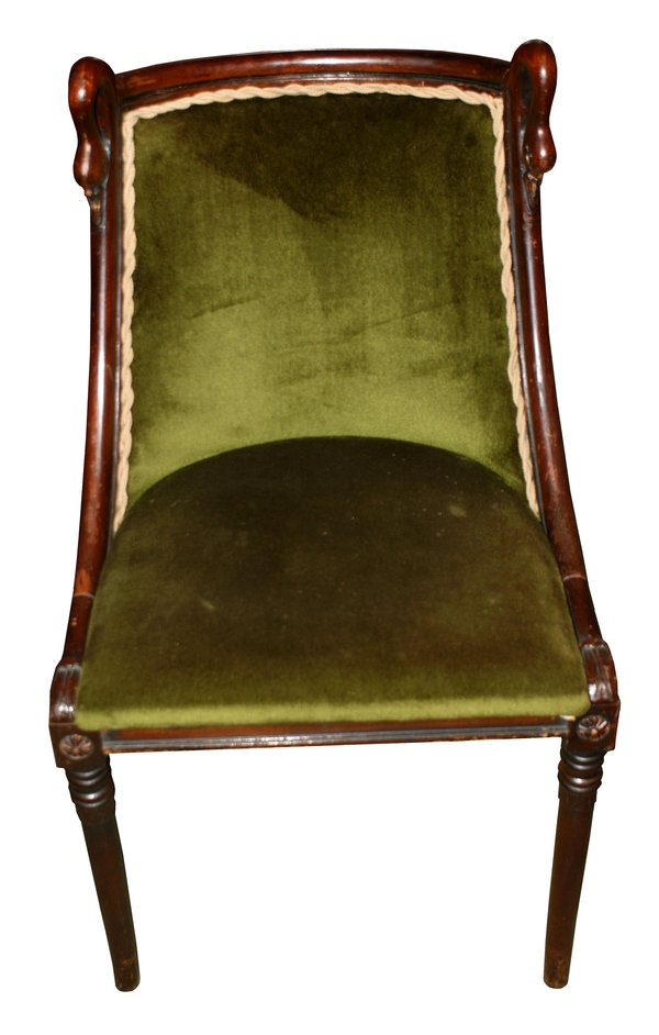 Victorian Mahogany Set of Four Green Velvet Chairs