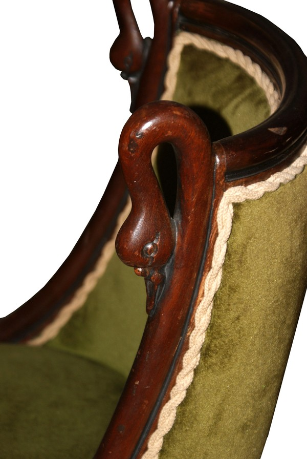 Victorian Mahogany Set of Four Green Velvet Chairs with Arch Dial Painted