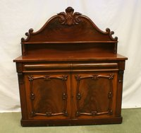 Victorian Mahogany Chiffonier with Drawer Above Door