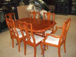 yew dining room furniture | Yew Wood Dining Room set 4 Chairs + 2 Carvers