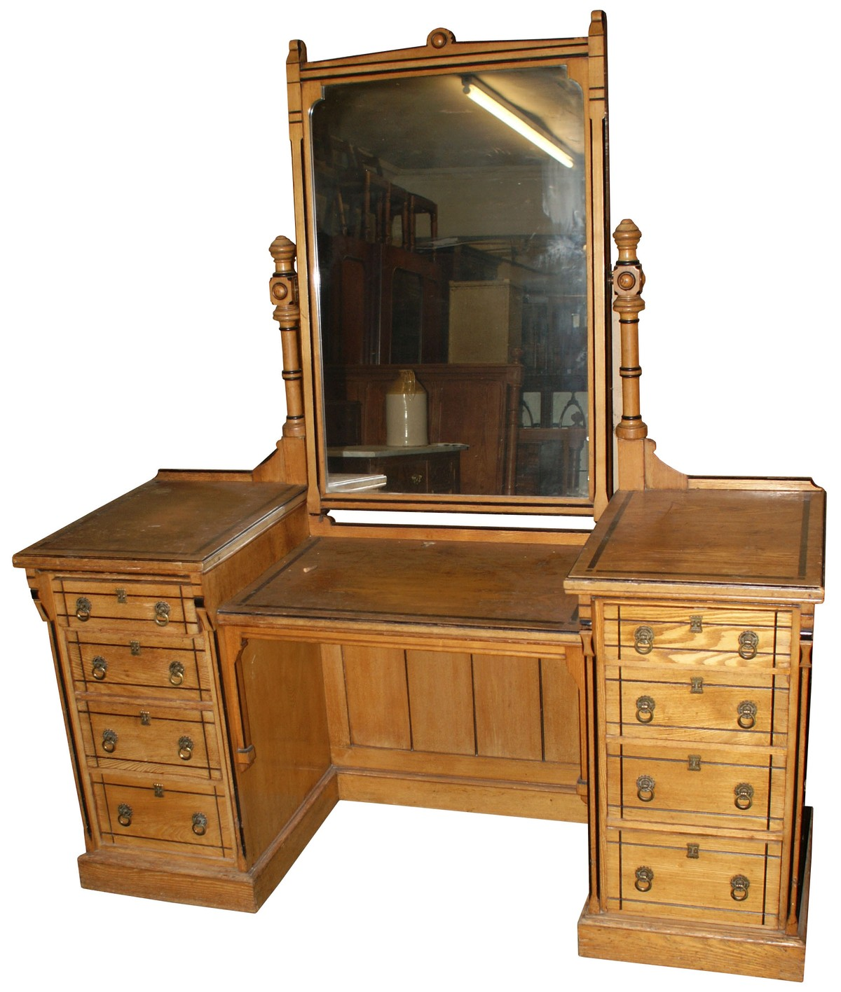 Antiques bazaar dressing tables large 3 door mirror fronted wardrobe with matching pedestal for Dressing mirror