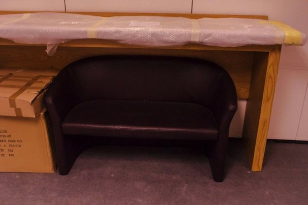 Curved faux leather seat stool
