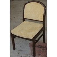 Wenge Framed Side Chair Yellow Upholstery