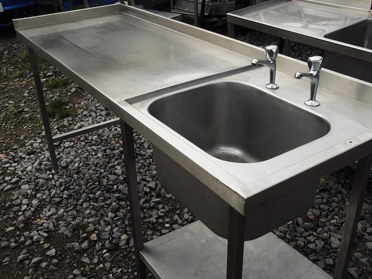 Used Stainless Steel Table With Sink For Sale on Modern Kitchen Worktable