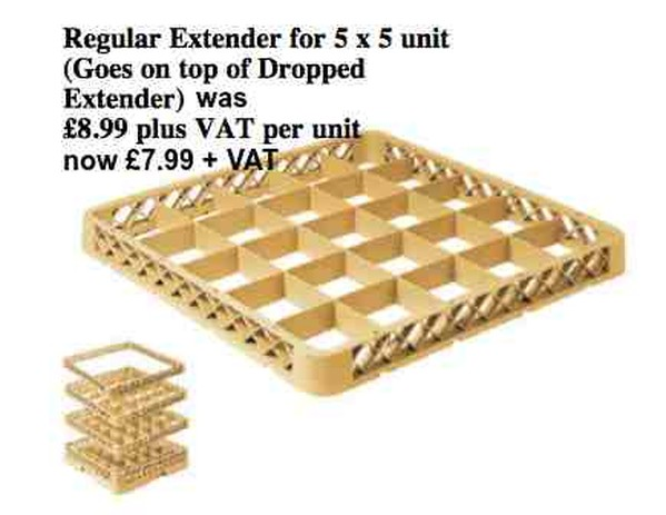 Regular Extender for 5 x 5 dish washer tray