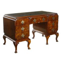 The Mill Collection Art Deco Carved Walnut Chinoiserie Writing Table Desk
