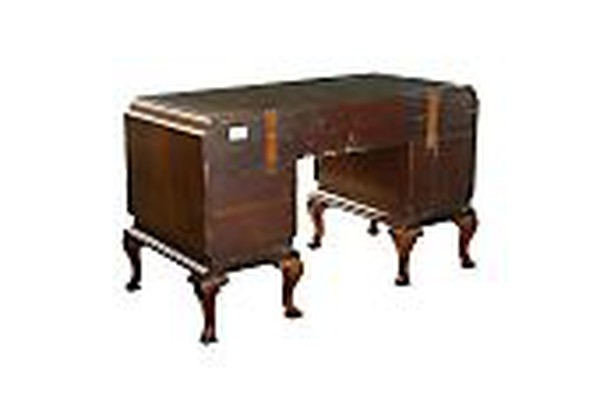 Art Deco Carved Walnut Chinoiserie Writing Table Desk