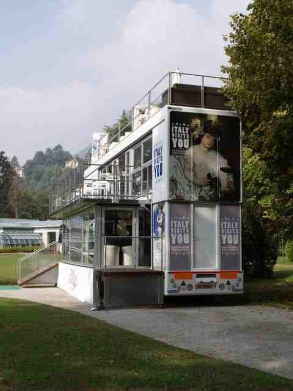 Three story exhibition trailer