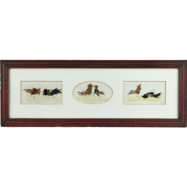 Victorian Antique Cock Fighting Sporting Trio Pictures Feather Collage