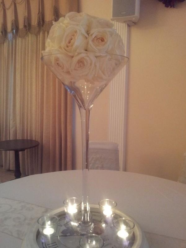 Champagne glass tble centre piece
