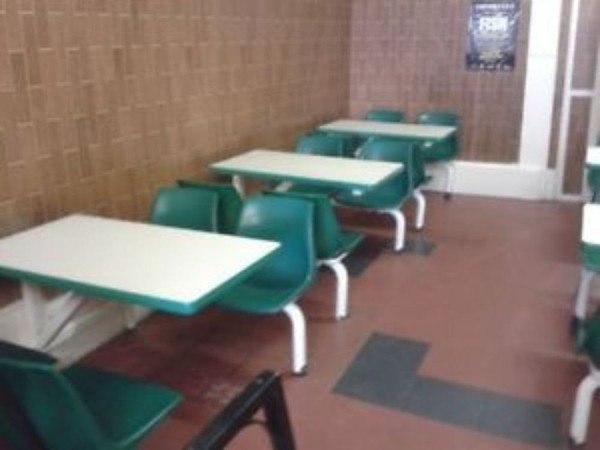 5 x Modular cafe canteen tables and chairs set dual access