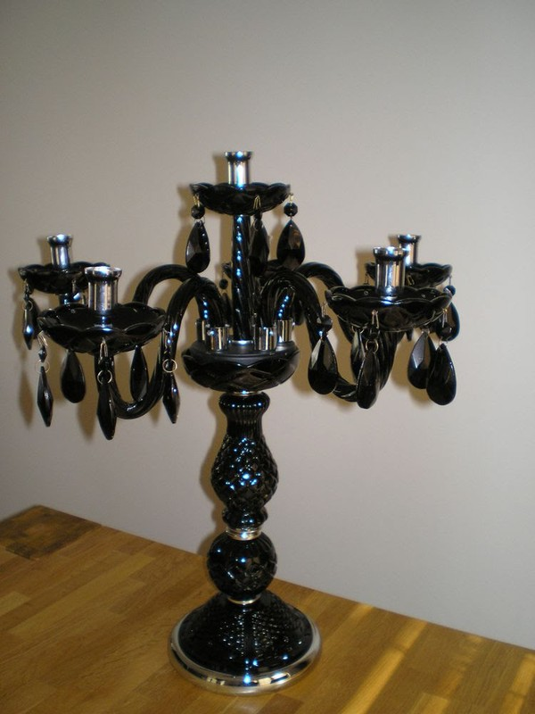 Black glass candelabras