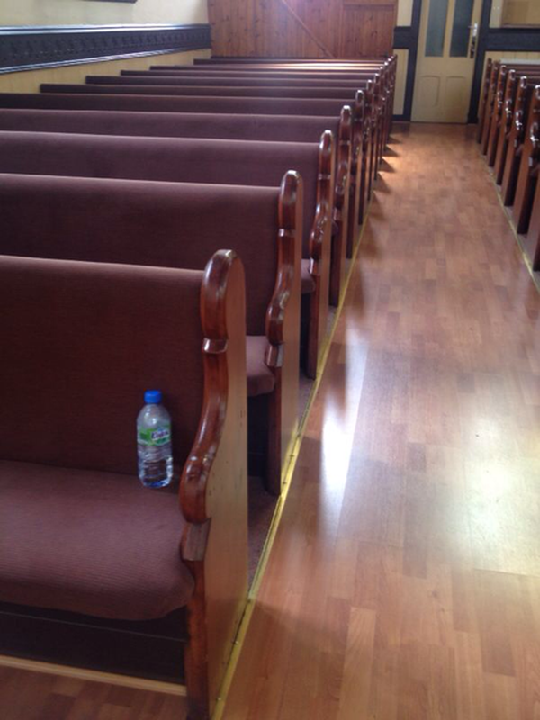 Row of church pews