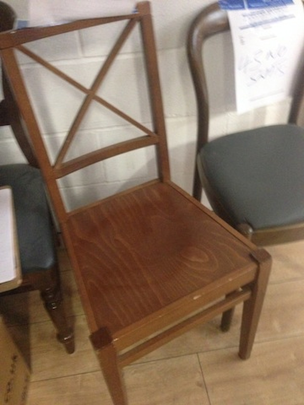 Secondhand Hotel Furniture Dining Chairs 22x Wooden Chair With Square Seat And Back London