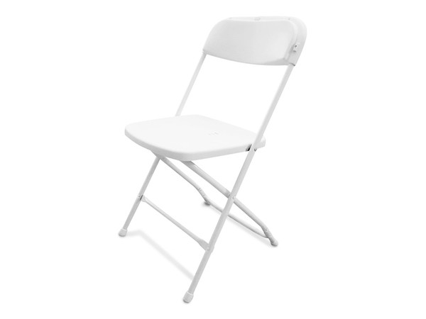 NEW White Folding Plastic Samsonite Style Chairs