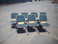 Chrome Frame Wood Seat Chairs