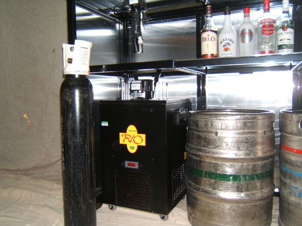 Collapsible Mobile Bar Unit with space for fridge or dispense system