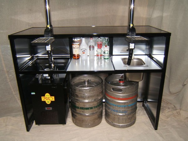 Collapsible Mobile Bar Unit with under storage and space for dispense systems