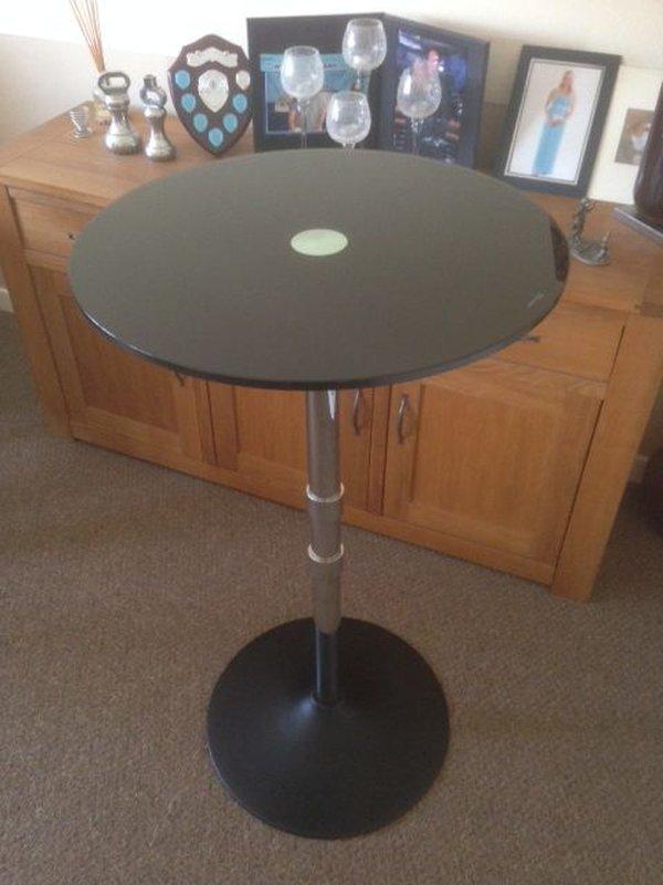 Round Black Glass Bar Table