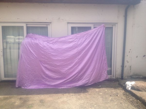 Violet marquee drapes