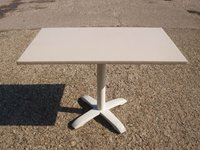 9x Four Seater Restaurant Pedestal Tables with Cream Vinyl Covered Top - Cambridgeshire