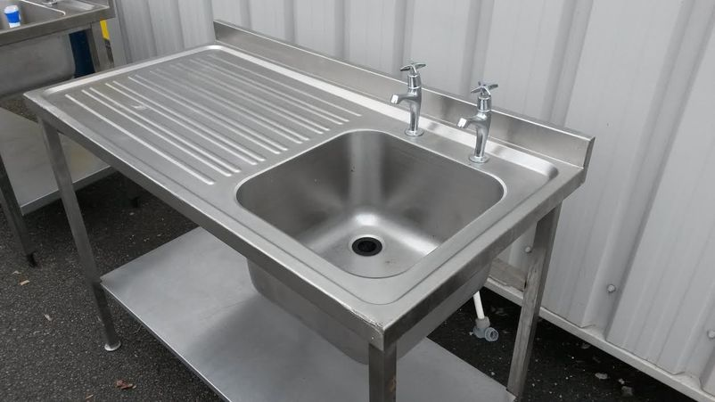 Used Free Standing Commercial Stainless Steel Kitchen Sink Cabinet ...