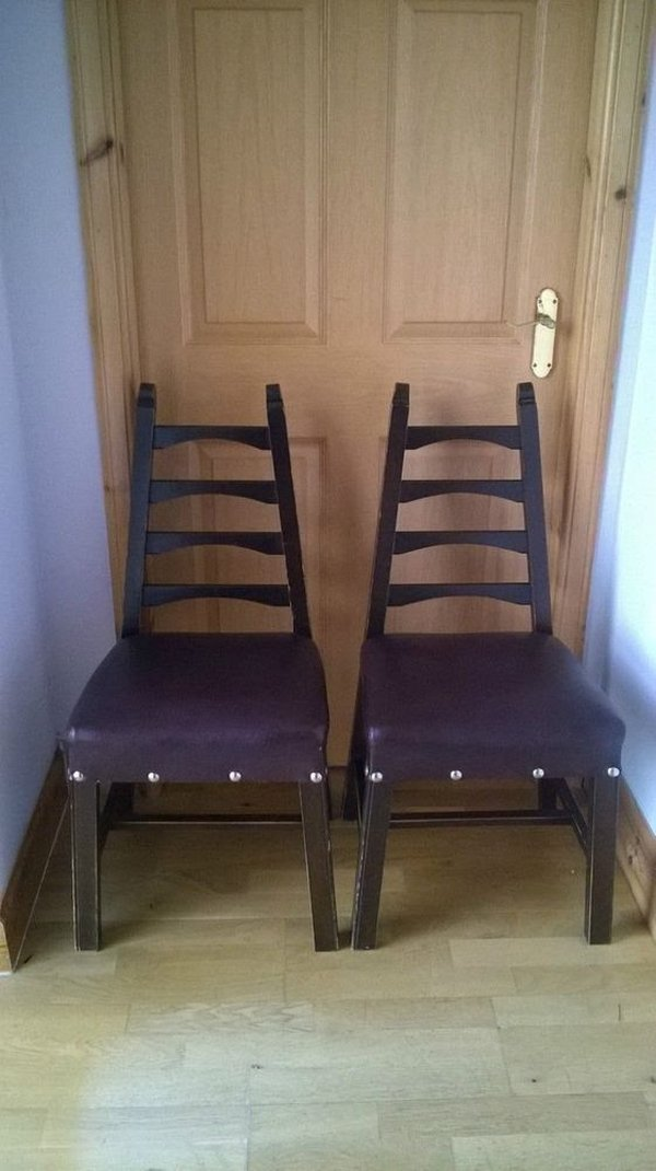 Vintage Leather Seated Church Chairs