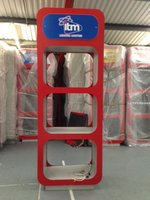 free standing display units with 3 appertures for product display