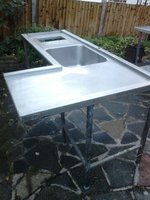Stainless steel corner unit with sink