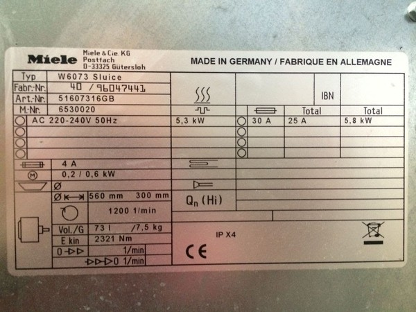 Miele W6073 Commercial 7.5KG Washing machine product info