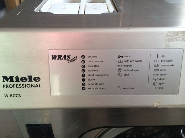 Miele W6073 Commercial 7.5KG Washing machine settings