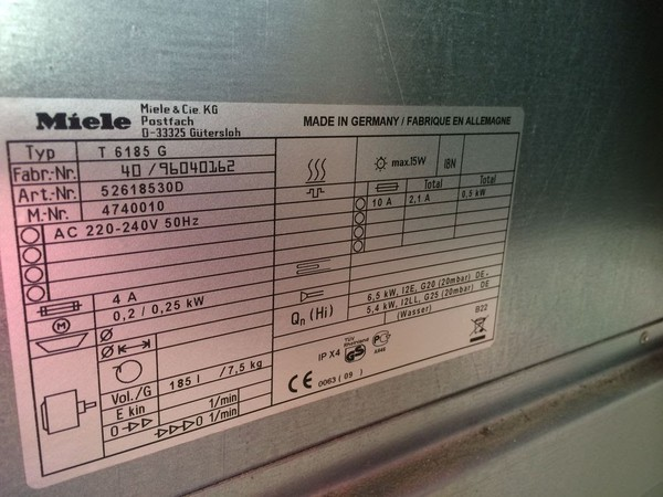 Miele T6185 Commercial Tumble Dryer info