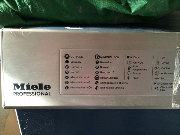 Miele T6185 Commercial Tumble Dryer settings