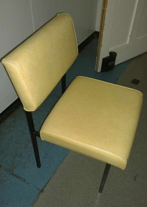 28 x cream leatherette chairs with black metal frame