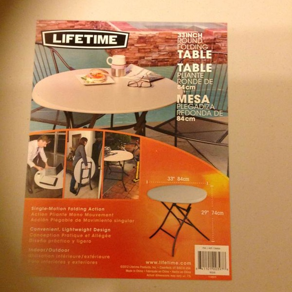 Lifetime Round Folding Tables info sheet