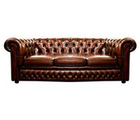 Vintage Oxblood Leather Chesterfield Sofa