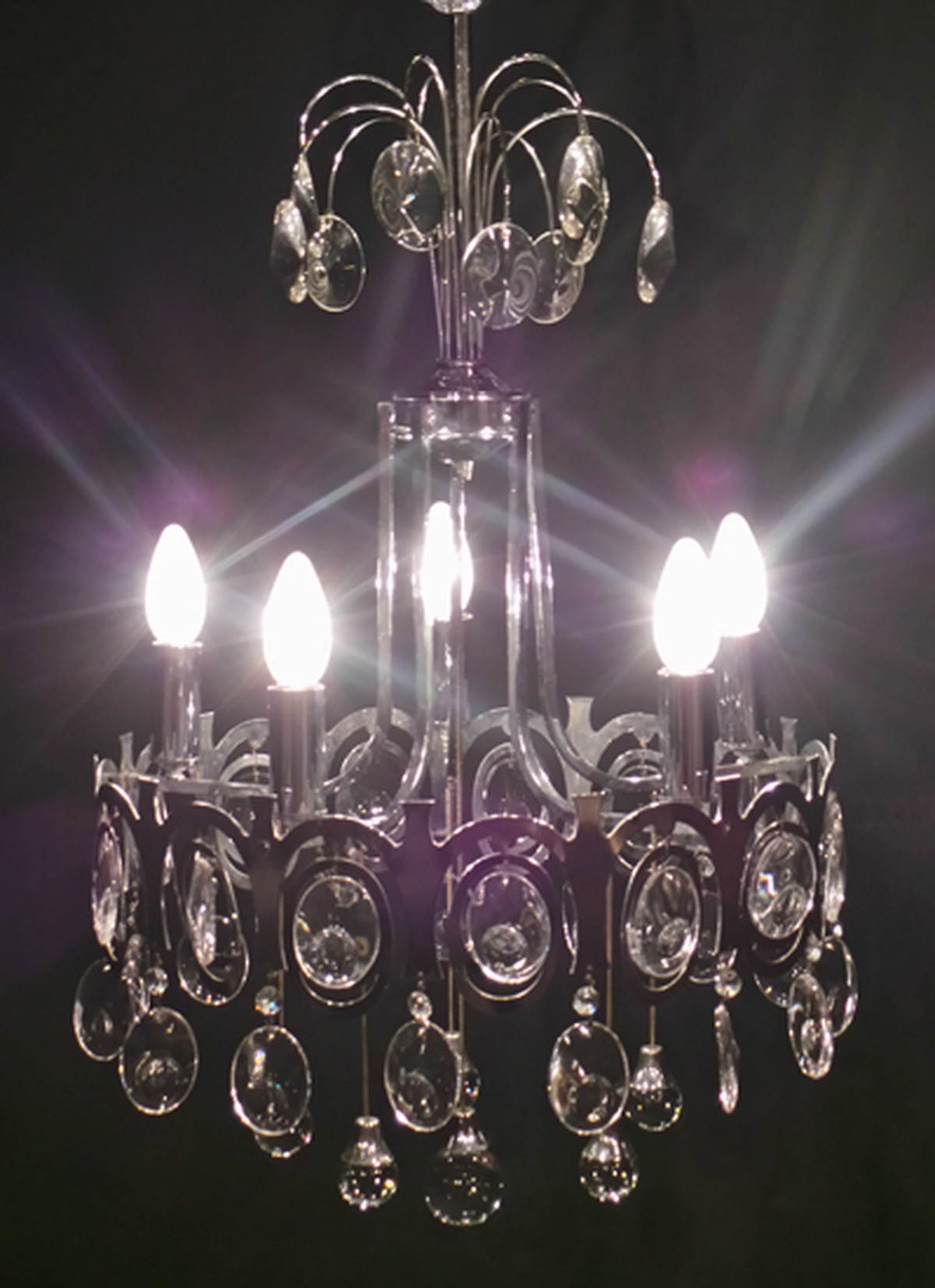 Secondhand vintage and reclaimed the old cinema london 5 5 candle chrome and glass chandelier arubaitofo Images