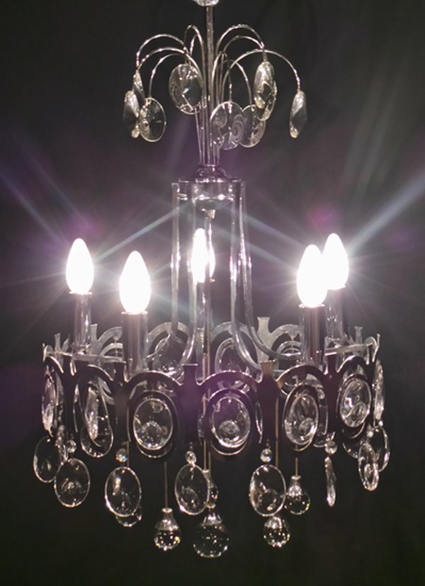 5 Candle Chrome and Glass Chandelier
