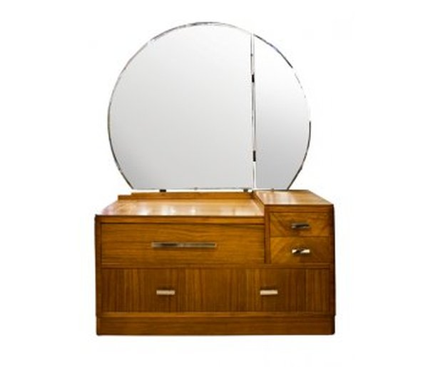 Original Art Deco Walnut Dressing Table