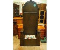 A Dark Solid Oak Edwardian Antique Hall Stand