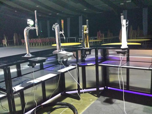 Collapsible Mobile Corner Bar Units with hand pumps