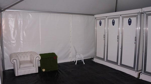 Shower units in situ