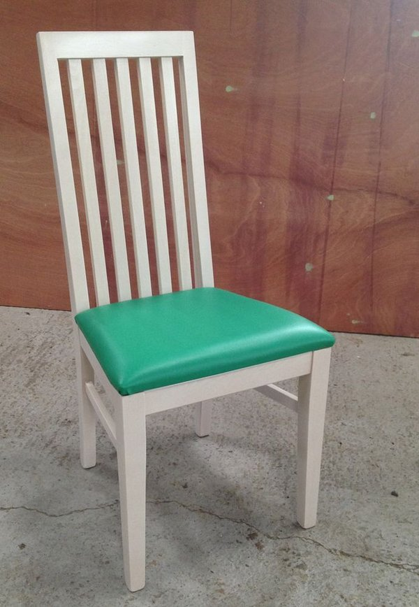 white and green dining chairs