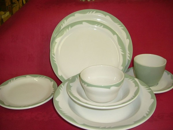 Sage Green and Cream Crockery