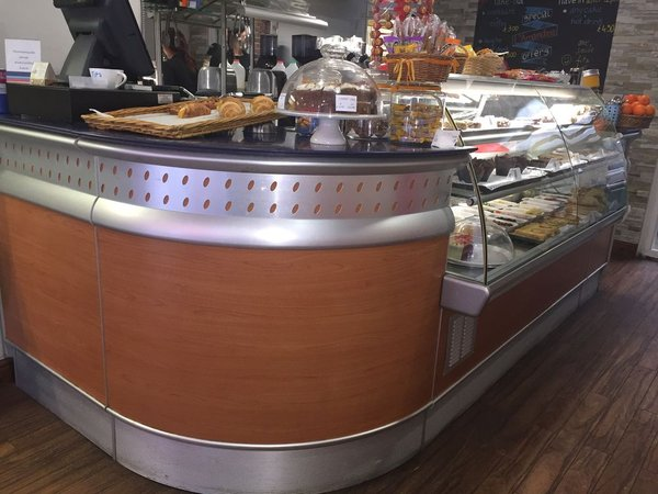 L shaped cake display counter