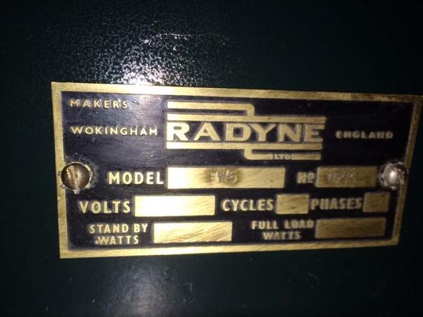 Radyne PVC Welding  Machine information plaque