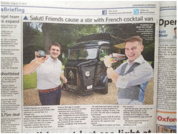 The Oxford Mail - Salut! Friends cause a stir with French cocktail van